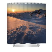 Midnight Sun Above Lilletinden Shower Curtain