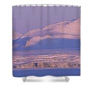 Midnight Sunlight On Polar Mountains Shower Curtain