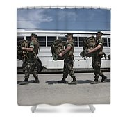Midshipmen Carry Their Packs And Board Shower Curtain