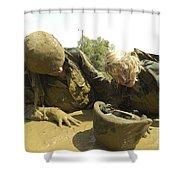 Midshipmen Maneuver Through A Mud Pit Shower Curtain