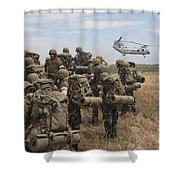 Midshipmen Watch As A U.s. Marine Corps Shower Curtain