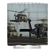 Military Helicopters Land On The Flight Shower Curtain
