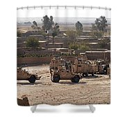 Military Vehicles Parked Outside Loy Shower Curtain