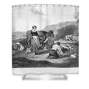 Milking, 17th Century Shower Curtain