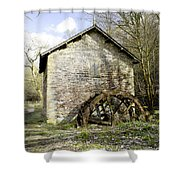 Mill And Water-wheel Near Ashford-in-the-water Shower Curtain