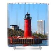 Milwaukee Harbor Lighthouse Shower Curtain