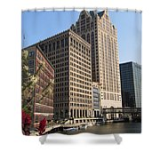 Milwaukee River And Skywalk Shower Curtain