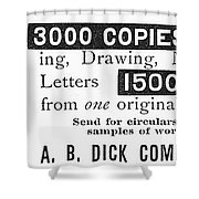 Mimeograph Ad, 1890 Shower Curtain