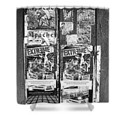 Minahasa Village Signage Bw Shower Curtain