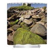 Minard Castle And Rocky Beach Minard Shower Curtain