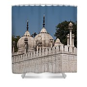 Minarets And Structure Of Pearl Mosque Inside Red Fort Shower Curtain
