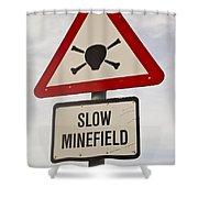 Minefield Road Sign Falkland Islands Shower Curtain