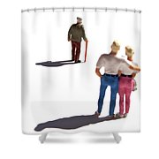Miniature Figurines Couple Watching Elderly Man Shower Curtain