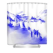 Minimal Landscape Monochrome In Blue 111511 Shower Curtain