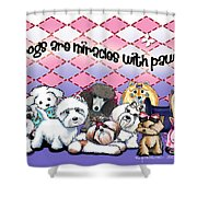 Miracles With Paws Shower Curtain by Catia Cho