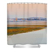 Mist Over The Fields And Village Shower Curtain