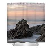Mist Surrounding Rocks In The Ocean Shower Curtain