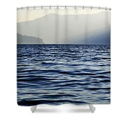 Misty Alpine Lake With Mountains Shower Curtain