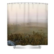 Misty Fields Divided By A Line Of Rocks Shower Curtain