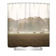 Misty Haystacks Shower Curtain