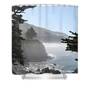 Misty Morning On The Big Sur Coastline Shower Curtain by Camilla Brattemark