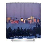 Misty Skyline, Edmonton, Alberta, Canada Shower Curtain