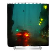 Misty View Of Car Lights On A City Shower Curtain
