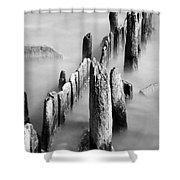 Misty Wooden Posts Shower Curtain