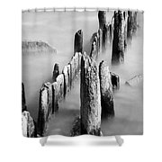 Misty Wooden Posts Shower Curtain