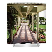 Mix Of Light And Shade Under A Partially Covered Pathway With Pillars Shower Curtain