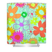 Mixed Flowers Shower Curtain