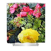 Mixed Ranunculus In A Hanging Basket Shower Curtain