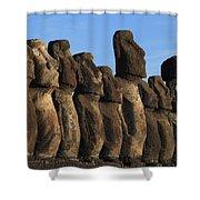 Moai Along The Coast Of Easter Island Shower Curtain
