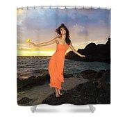 Model In Orange Dress II Shower Curtain