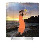 Model In Orange Dress Shower Curtain