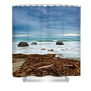 Moeraki Boulder East Coast Of South New Zealand Shower Curtain