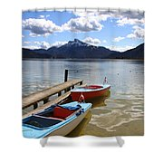 Mondsee Lake Boats Shower Curtain by Lauri Novak