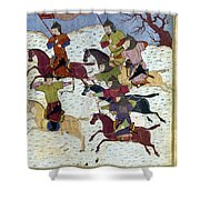 Mongol Battle, C1400 Shower Curtain