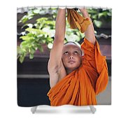 Monk In The Bell Tower #2 Shower Curtain