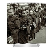 Monks In The Monastery Shower Curtain