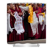 Monks Wait For The Dalai Lama Shower Curtain