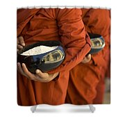 Monks With Rice Bowls, Inle Lake Shower Curtain