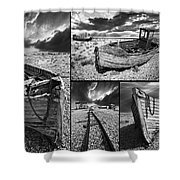 Montage Of Wrecked Boats Shower Curtain