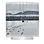 Montana Ice Fishing Shower Curtain
