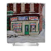 Montreal Corner Market Winter Scene Shower Curtain
