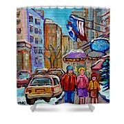 Montreal Street Scenes In Winter Shower Curtain by Carole Spandau