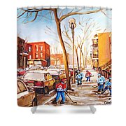 Montreal Street With Six Boys Playing Hockey Shower Curtain