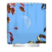 Moon Amidst Red Leaves Shower Curtain