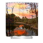 Moon And Pond Shower Curtain
