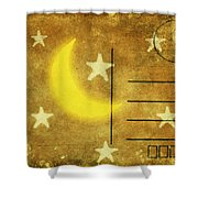 Moon And Star Postcard Shower Curtain